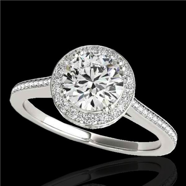 2.03 ctw Certified Diamond Solitaire Halo Ring 10k White Gold - REF-375K2Y