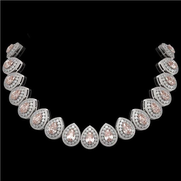 103.22 ctw Morganite & Diamond Victorian Necklace 14K White Gold - REF-4551M3G