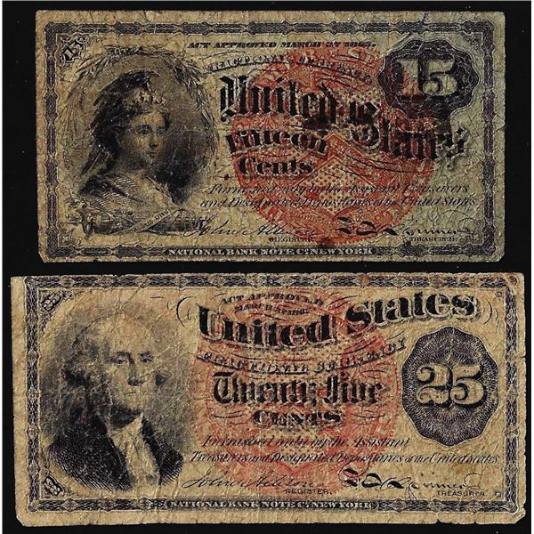 Lot of 1863 4th Issue Fifteen & Twenty-Five Cent Fractional Currency Notes