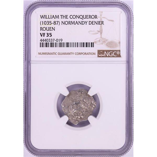 1035-87 William The Conqueror Normandy Rouen Denier Coin NGC VF35