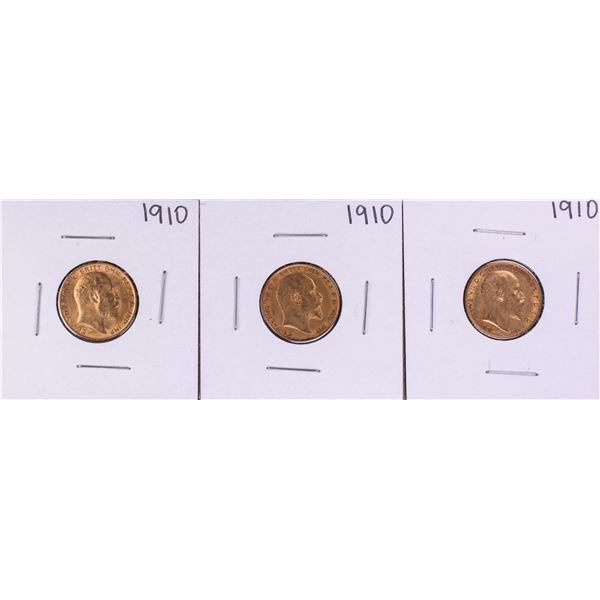 Lot of (3) 1910 Great Britain Half Sovereign Gold Coins