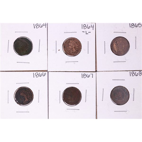 Set of 1864 -1868 Indian Head Cent Coins Including 1864-L