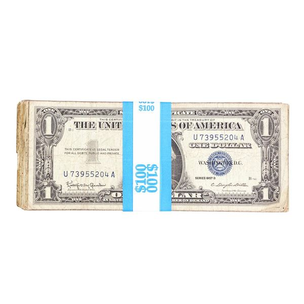Lot of (100) 1957/A/B $1 Silver Certificate Notes