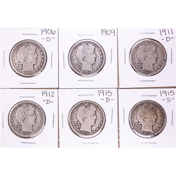 Lot of (6) Miscellaneous Date Barber Half Dollar Coins