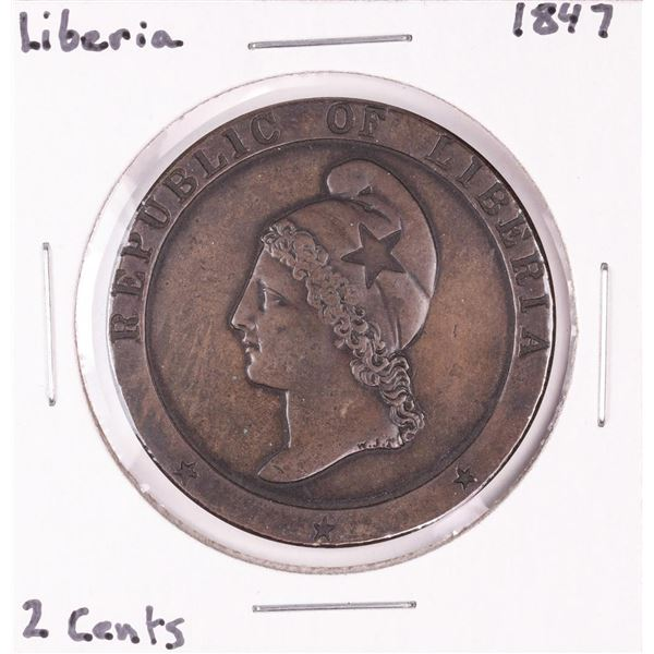 1847 Liberia 2 Cents Copper Coin