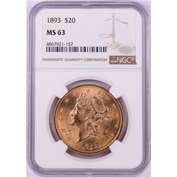 1893 $20 Liberty Head Double Eagle Gold Coin NGC MS63