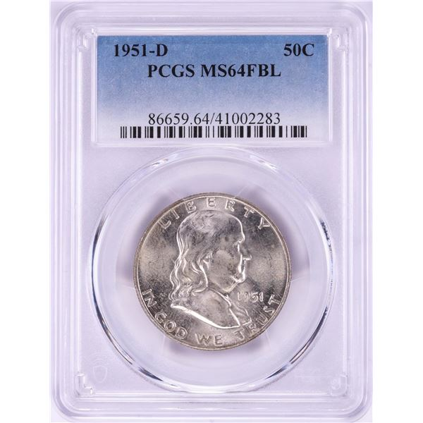 1951-D Franklin Half Dollar Coin PCGS MS64FBL
