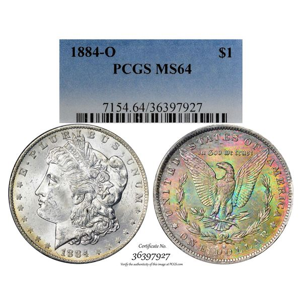 1884-O $1 Morgan Silver Dollar Coin PCGS MS64 Amazing Toning