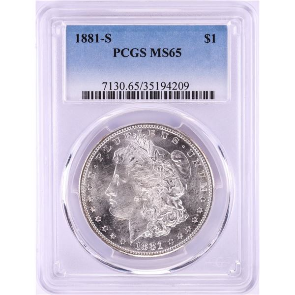 1881-S $1 Morgan Silver Dollar Coin PCGS MS65 Nice Toning