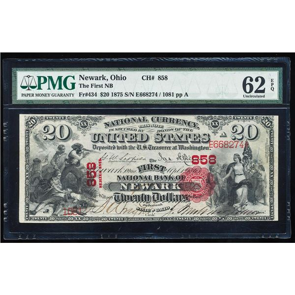 First Charter 1875 First NB Newark, OH CH# 434 National Note PMG Uncirculated 62EPQ