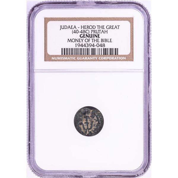 40-4 BC Judaea Herod The Great Prutah Ancient Coin NGC Genuine
