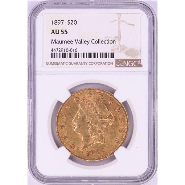 1897 $20 Liberty Head Double Eagle Gold Coin NGC AU55
