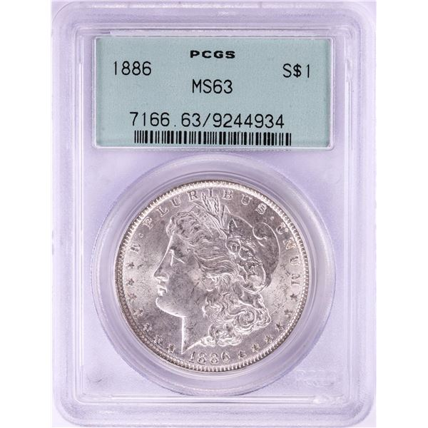1886 $1 Morgan Silver Dollar Coin PCGS MS63 Old Green Holder