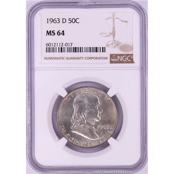 1963-D Franklin Half Dollar Coin NGC MS64