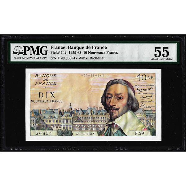 1959-1963 France Banque de France 10 Nouveaux Francs Note Pick# 142 PMG About Uncirculated 55
