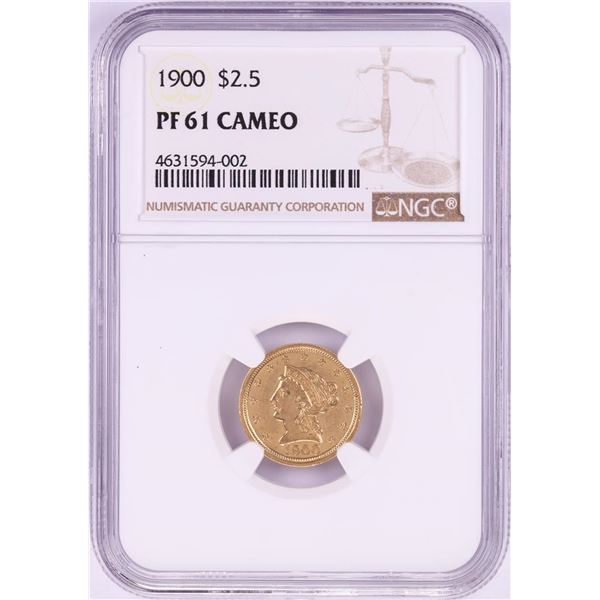 1900 $2 1/2 Proof Liberty Head Quarter Eagle Gold NGC PF61 Cameo