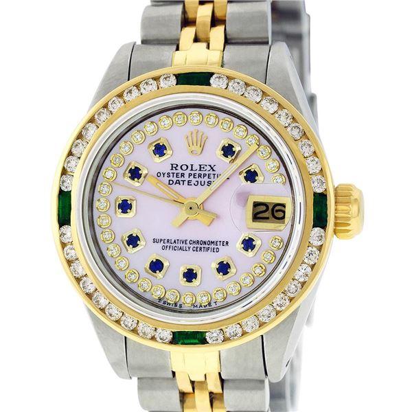 Rolex Ladies Two Tone Pink MOP Diamond sapphire & Emerald Datejust Wristwatch