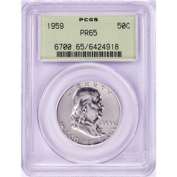 1959 Proof Franklin Half Dollar Coin PCGS PR65 Old Green Holder
