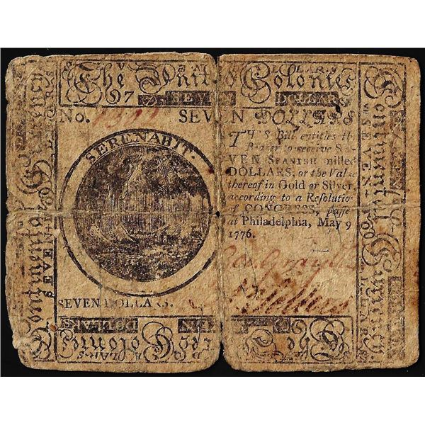 May 9, 1776 $7 Continental Currency Note