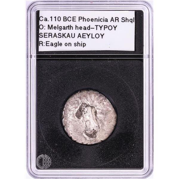 110 BCE Phoenicia Tyre AR Shekel Ancient Coin