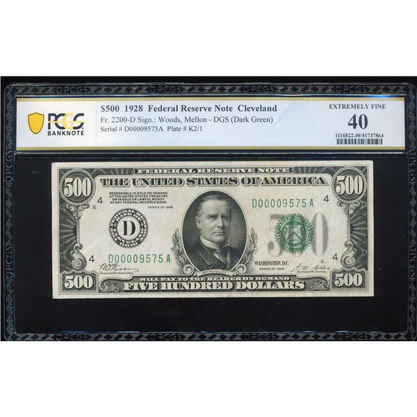 1928 $500 Federal Reserve Note Cleveland Fr.2200-D PCGS Extremely Fine 40