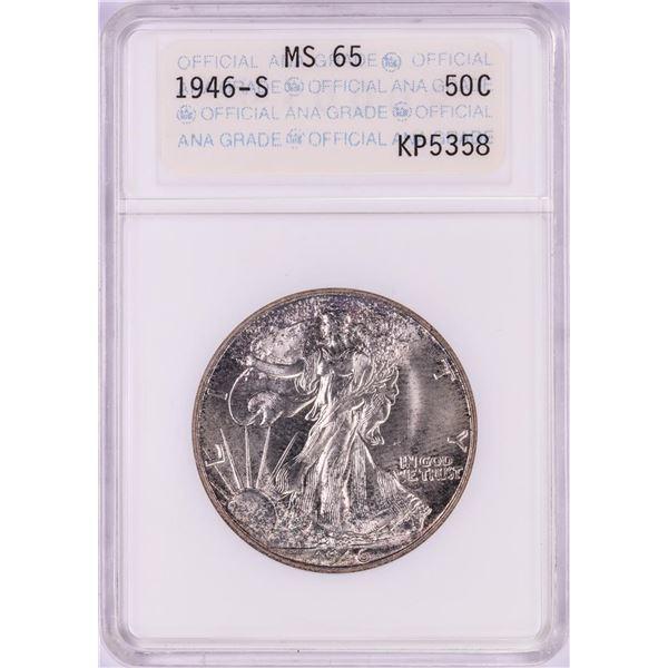 1946-S Walking Liberty Half Dollar Coin ANA MS65