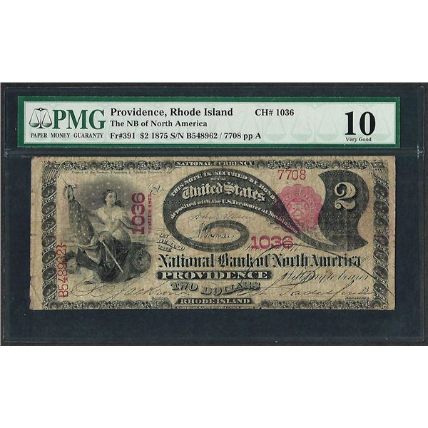 1875 $2 Lazy Deuce North America Providence, RI National Currency Note PMG Very Good 10