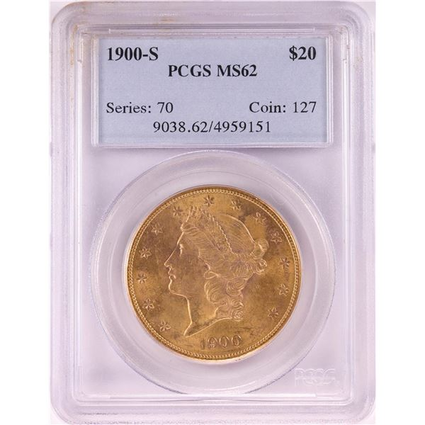 1900-S $20 Liberty Head Double Eagle Gold Coin PCGS MS62