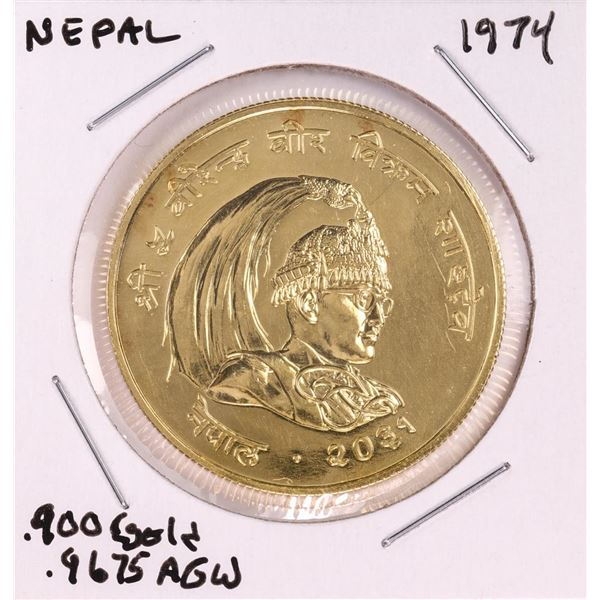 1974 Nepal 1000 Rupee Conservation Rhinoceros Gold Coin