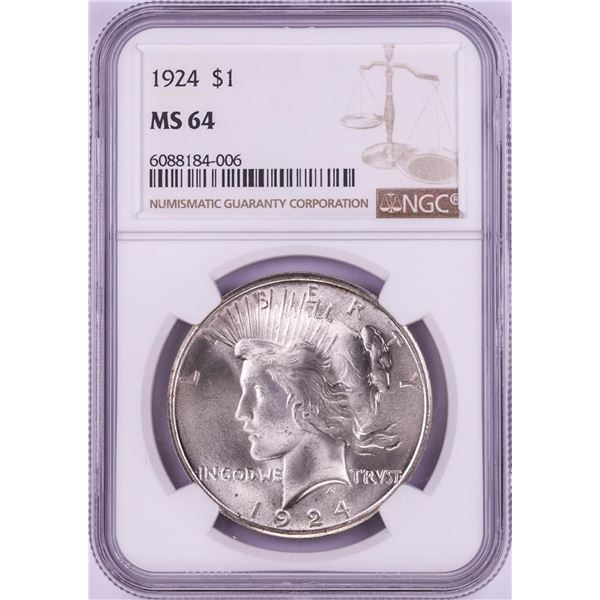 1924 $1 Peace Silver Dollar Coin NGC MS64