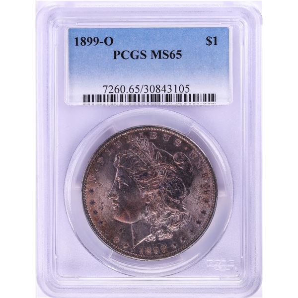 1899-O $1 Morgan Silver Dollar Coin PCGS MS65 Nice Toning