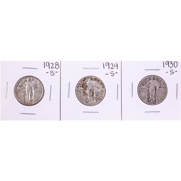 Lot of 1928-S to 1930-S Standing Liberty Quarter Coins