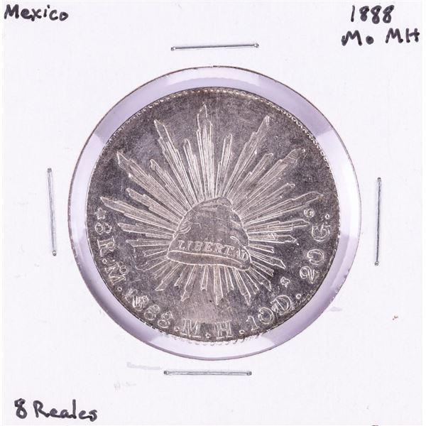 1888 MoMH Mexico 8 Reales Cap & Rays Silver Coin