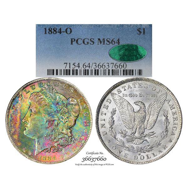 1884-O $1 Morgan Silver Dollar Coin PCGS MS64 CAC Amazing Toning