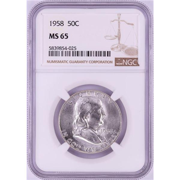 1958 Franklin Half Dollar Coin NGC MS65