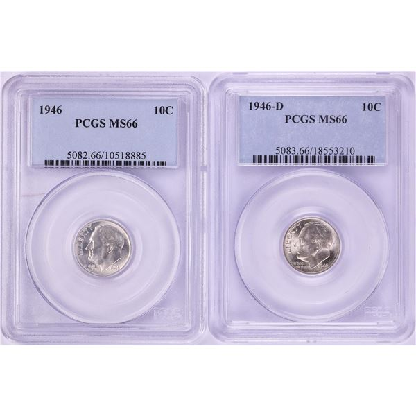 Lot of 1946 to 1946-D Roosevelt Dime Coins PCGS MS66