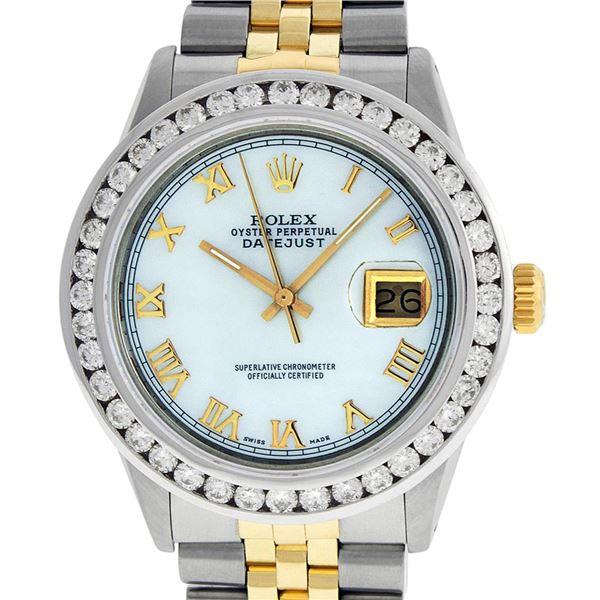Rolex Mens Two Tone MOP Roman 3 ctw Channel Set Diamond Datejust Wristwatch
