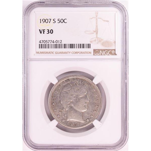 1907-S Barber Half Dollar Coin NGC VF30