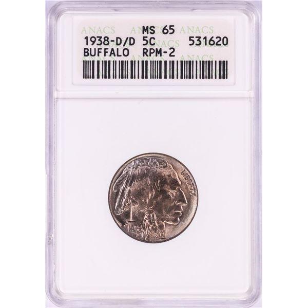 1938-D/D Buffalo Nickel Coin ANACS MS65 RPM-2