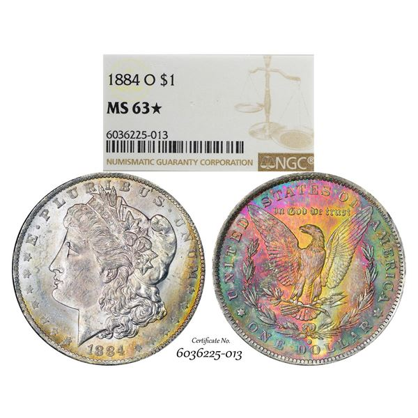 1884-O $1 Morgan Silver Dollar Coin NGC MS63* Star Amazing Toning
