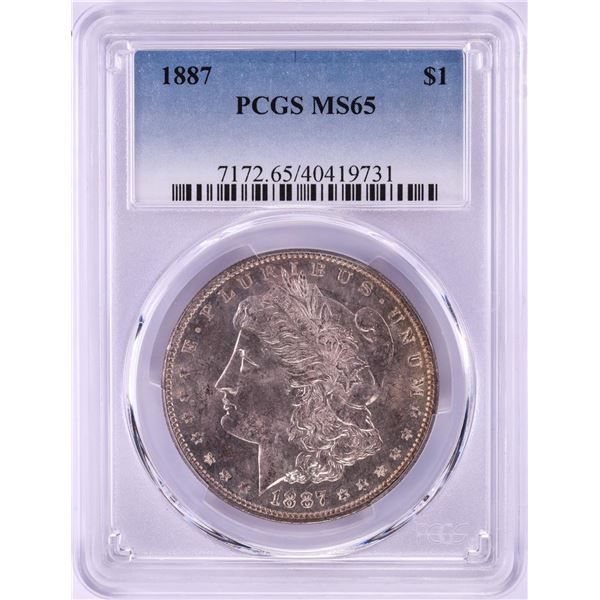 1887 $1 Morgan Silver Dollar Coin PCGS MS65 Nice Toning