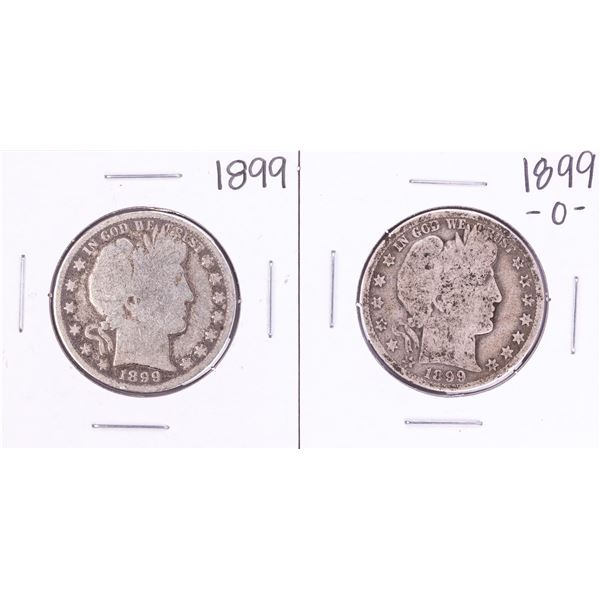 Lot of 1899 & 1899-O Barber Half Dollar Coins