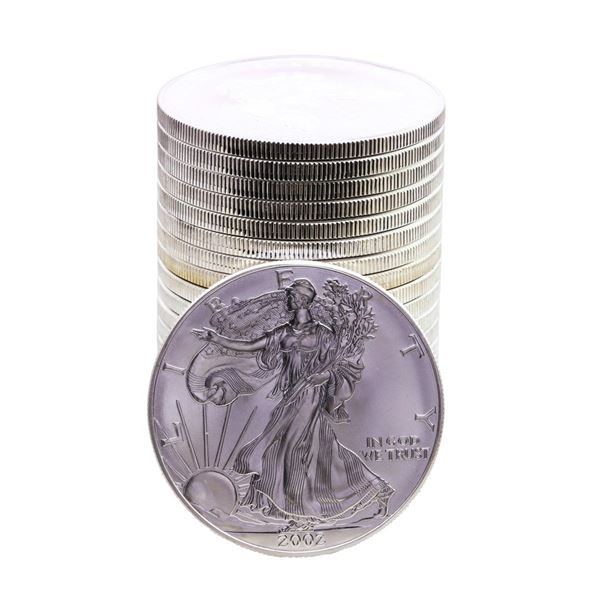 Roll of (20) Brilliant Uncirculated 2002 $1 American Silver Eagle Coins