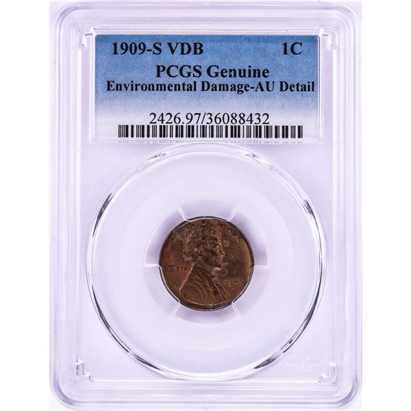 1909-S VDB Lincoln Wheat Cent Coin PCGS Genuine AU Detail