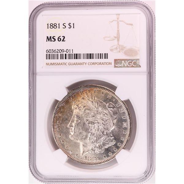 1881-S $1 Morgan Silver Dollar Coin NGC MS62 Nice Toning