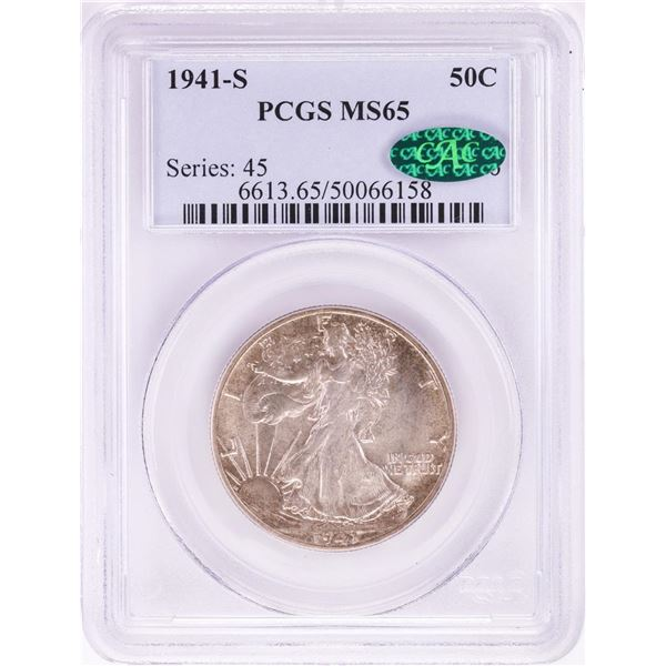 1941-S Walking Liberty Half Dollar Coin PCGS MS65 CAC