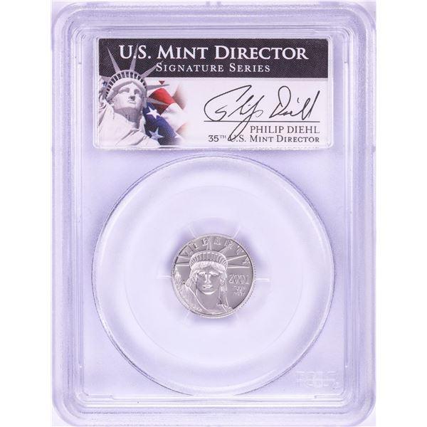 2001-W $10 Proof Platinum American Eagle Coin PCGS PR70DCAM Philip Diehl Signature