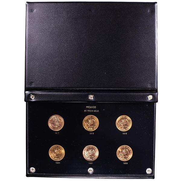 Mexico 20 Pesos Gold (6) Coin Set In Capitol Plastics Book