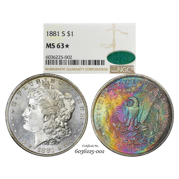 1881-S $1 Morgan Silver Dollar Coin NGC MS63* Star CAC Amazing Toning