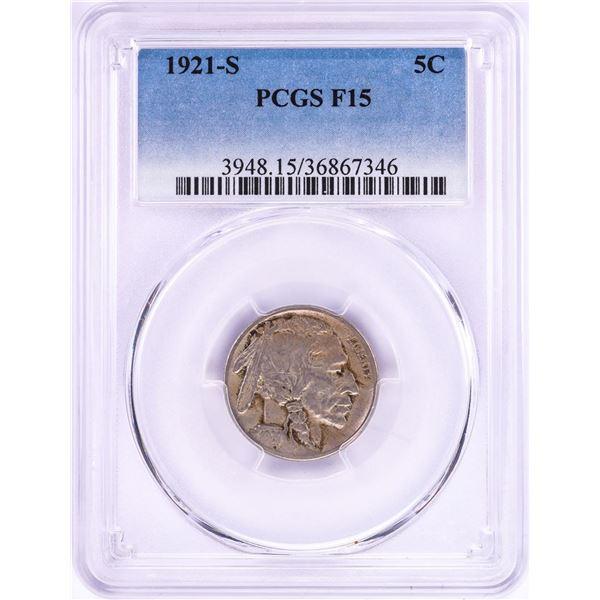 1921-S Buffalo Nickel Coin PCGS F15